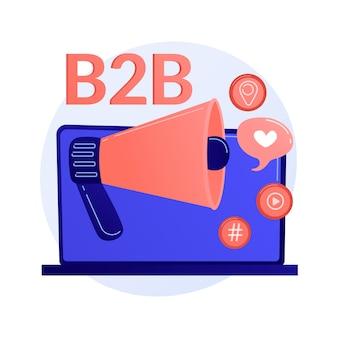 B2b-marketing. geschäftszusammenarbeit, smm, internetbenachrichtigung. flaches designelement der online-werbekampagne. illustration des anzeigenkonzepts des sozialen mediennetzwerks