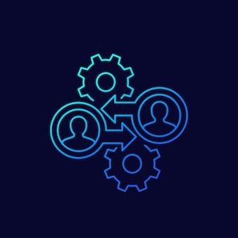 B2b-marketing-symbol, linearer vektor