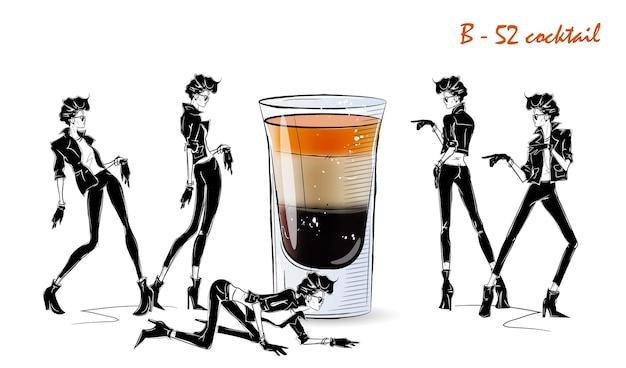 B52-cocktail. modemädchen in der artskizze mit cocktail. vektorillustration