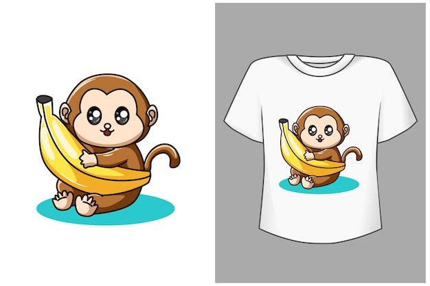 Baby affe und banane cartoon illustration