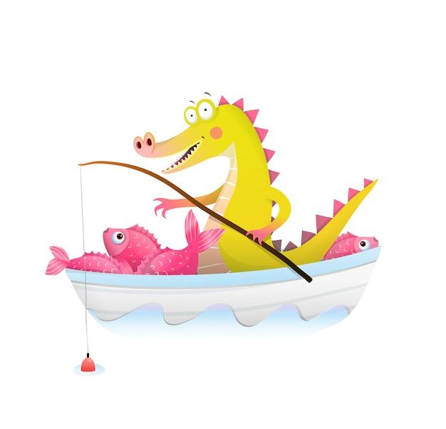 Baby alligator krokodil mit angelrute im boot