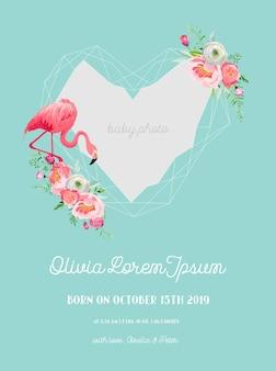 Baby-ankunfts-ankündigung mit illustration des schönen flamingo- und geometrie-fotorahmens, grüße oder einladungskarte, geometrischer blumenrahmen in vektor