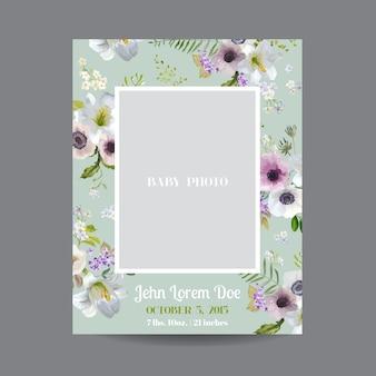 Baby-ankunfts- oder duschkarte mit lilienblüte