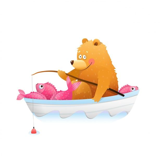 Baby bear cub fischen mit rod big catch cartoon Premium Vektoren