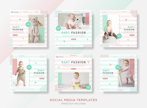 Baby big sale fashion banner für social media post template premium