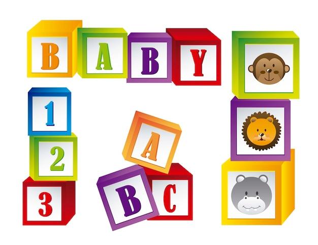 Baby blockiert mit gesichtstieren und buchstaben vector illustration