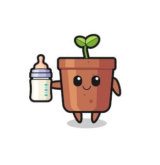 Baby-blumentopf-cartoon-figur mit milchflasche, süßes design für t-shirt, aufkleber, logo-element