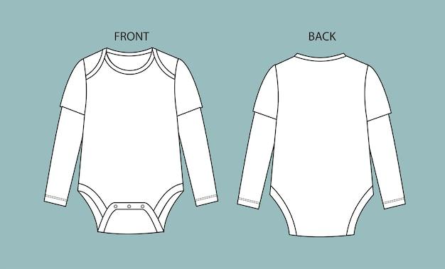 Baby bodysuit vorder- und rückansicht