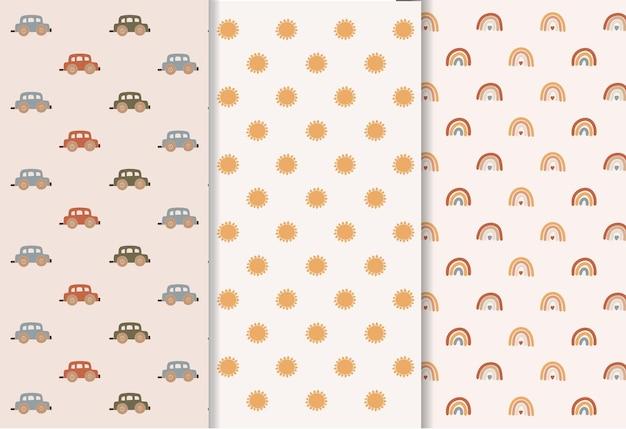 Baby-boho-mustersatz, niedliches minimales spielzeug für kinder, moderne sammlung von kinderelementen, schönes design, illustration