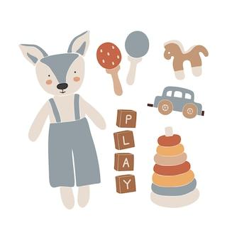 Baby-boho-spielzeug, abstraktes boho-spielzeug, süßes minimal-spielzeug für kinder, junge, spielzeug-set, holzelemente für kinder