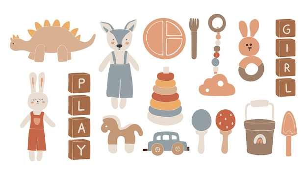 Baby-boho-spielzeug, abstraktes boho-spielzeug, süßes minimal-spielzeug für kinder, spielzeug, spielzeug-set, holzelemente für kinder