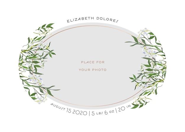 Baby born grußkarte mit floralen elementen. babyparty-schablonen-fotorahmen mit lilien-blumen. neugeborenes kind, hochzeitseinladung save the date karte mit kranz, blättern. vektor-illustration