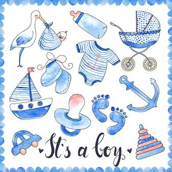 Baby boy aquarell elemente set