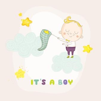 Baby boy fängt sterne auf einer wolke