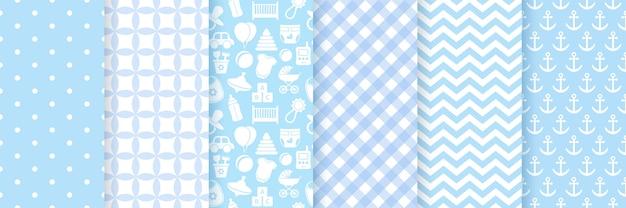 Baby boy muster nahtlos. babypartybeschaffenheit. stellen sie das blaue pastellmuster ein. nette illustration