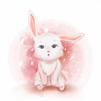 Baby bunnies curious nursery illustration