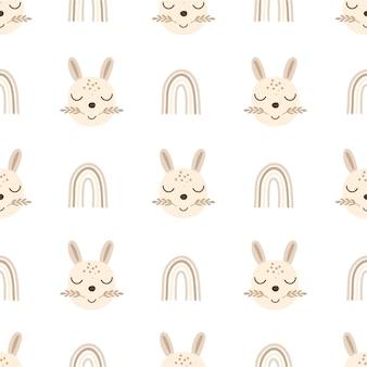 Baby bunny kindergarten nahtlose musterdesign.