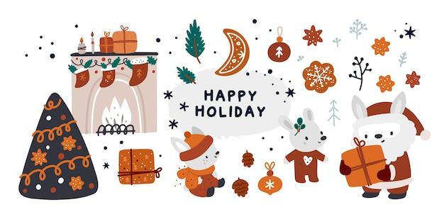 Baby christmas holiday kollektion mit hase, weihnachtsmann, geschenken, dekorationen und gemütlichen winteraccessoires
