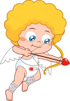 Baby cupid cartoon charakter schießen herz pfeile. illustration isoliert auf transparentem hintergrund
