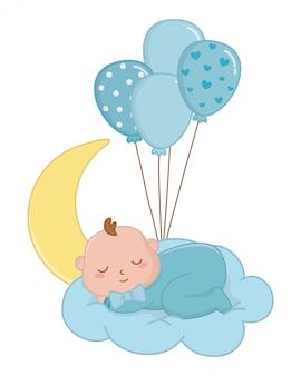 Baby, das auf einer wolkenillustration schläft