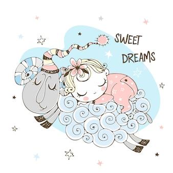 Baby, das süß auf einem schaf schläft. babydusche. süße träume.