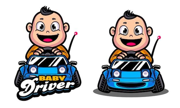 Baby driver illustration logo vorlage