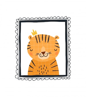 Baby-druck mit einem niedlichen tiger im rahmen