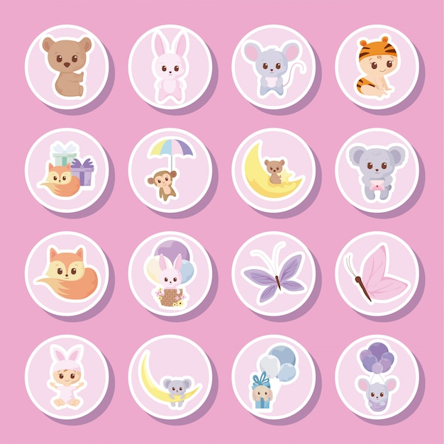 Baby-dusche-cartoons-icon-set