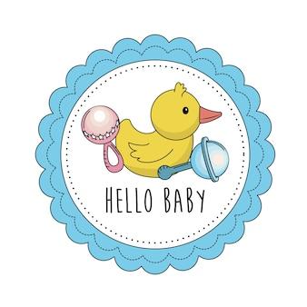 Baby-dusche-emblem, um ein kind zu begrüßen
