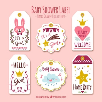 Baby-dusche-etiketten mit niedlichen objekte