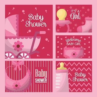 Baby dusche feier rosa etiketten geboren mädchen babe wagen lätzchen flasche milch schnuller