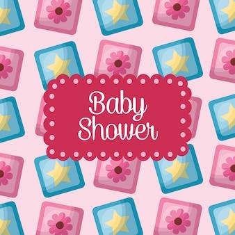Baby-dusche feier würfel blumen sternen hintergrund sein mädchen
