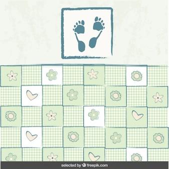 Baby-dusche-hintergrund mit fußabdruck