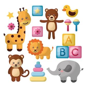 Baby dusche karte giraffe elefant affe löwe niedliche tiere spielzeug würfel