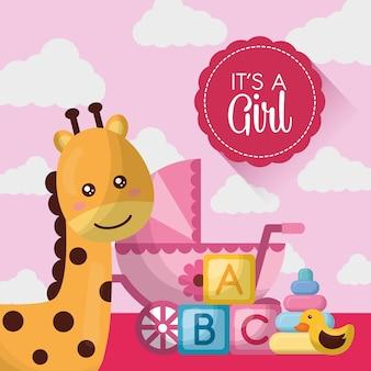 Baby-dusche-karte glücklich giraffe niedlichen rosa babe carriege würfel spielzeug