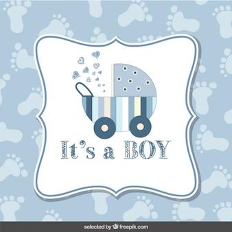 Baby-dusche-karte junge mit footprint hintergrund