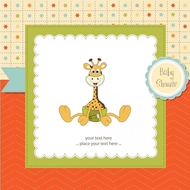 Baby-dusche-karte mit baby giraffe
