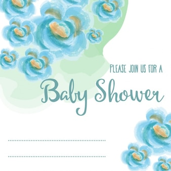 Baby-dusche-karte mit blauen aquarellblumen