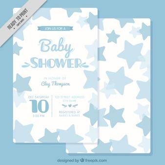 Baby-dusche-karte mit blauen sternen