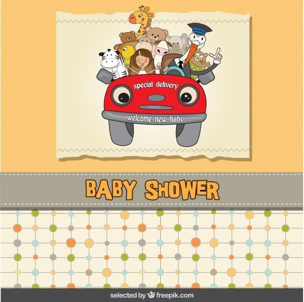 Baby-dusche-karte mit einem comic-auto
