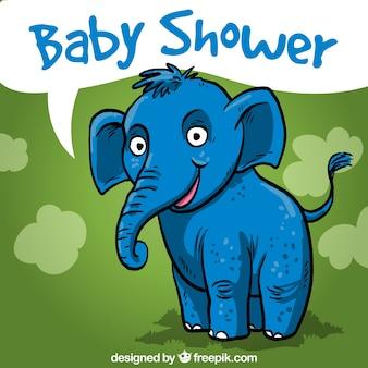Baby-dusche-karte mit einem handgezeichneten elefanten