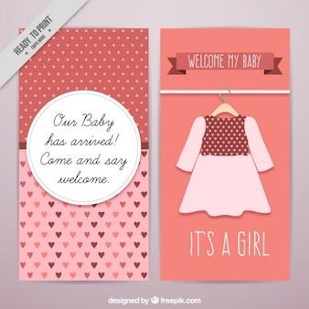 Baby-dusche-karte mit einem netten kleid