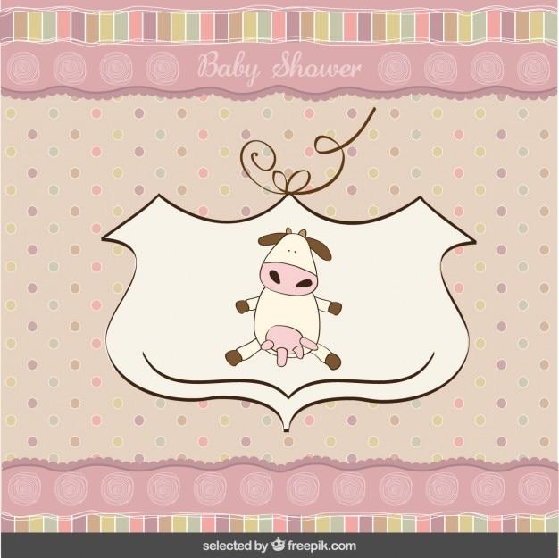 Baby-dusche-karte mit einem niedlichen kuh
