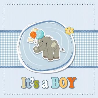 Baby-dusche-karte mit elefanten und ballons
