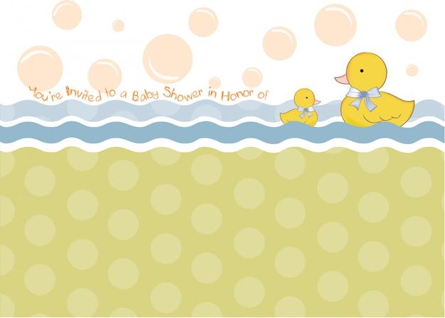 Baby-dusche-karte mit ente spielzeug