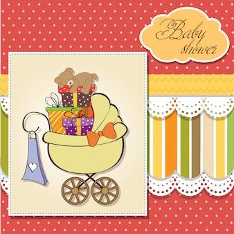 Baby-dusche-karte mit geschenkboxen