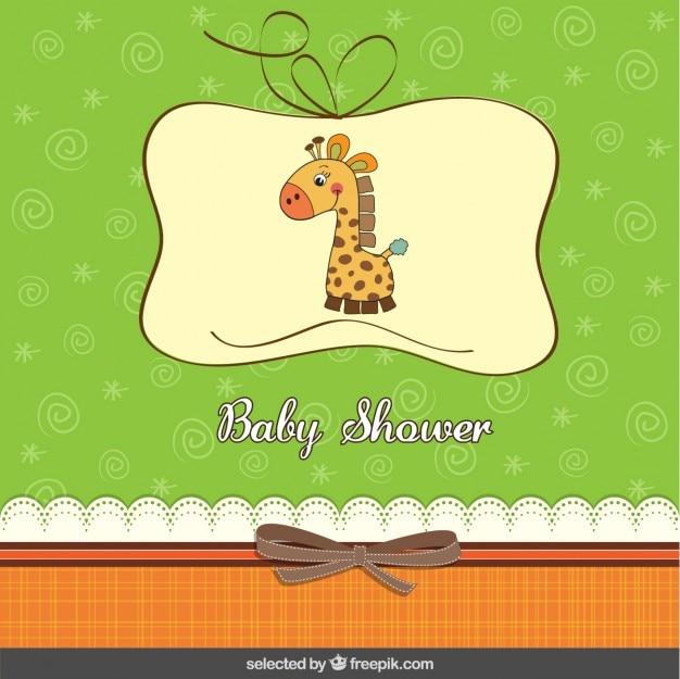 Baby-dusche-karte mit giraffe im gästebuch stil