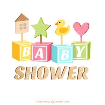 Baby-dusche-karte mit holzspielzeug
