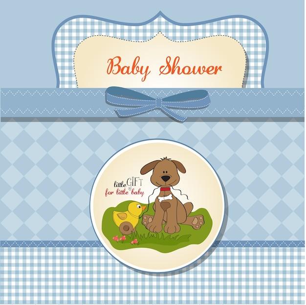 Baby-dusche-karte mit hund und ente spielzeug