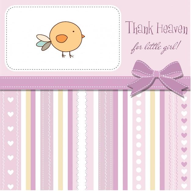Baby-dusche-karte mit kleinen vogel